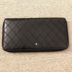 Chanel Large Travel Wallet In Black Soft Leather